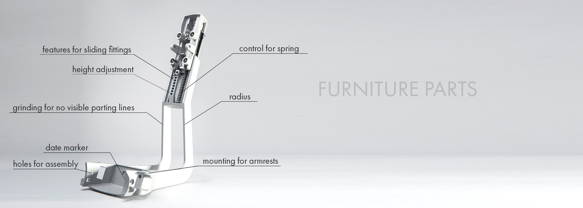 Die casting details for furniture and other industries