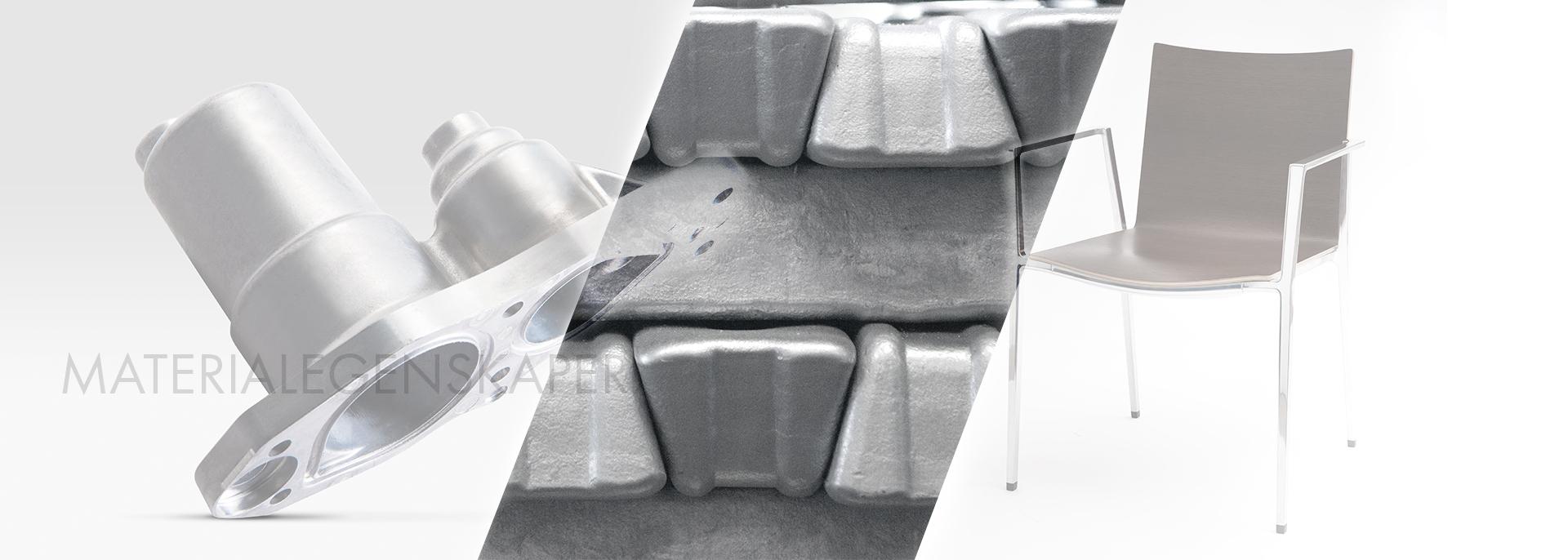 Materialegenskaper för de mest förekommande materialen ( ENAB 46000, ENAB 44300 och Stenal 460 ) som vi använder till pressgjutning i aluminium.